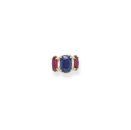 A FINE SAPPHIRE AND RUBY RING