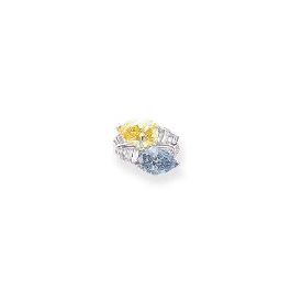 AN IMPORTANT FANCY INTENSE BLUE AND FANCY INTENSE YELLOW DIAMOND RING, BY...
