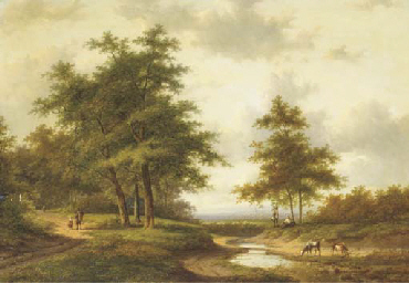 Figures resting by a ford, a t
