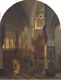 A church interior with worship