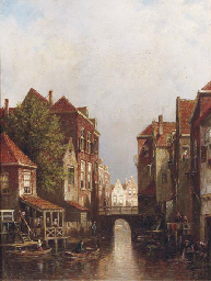 Figures by a canal in a Dutch