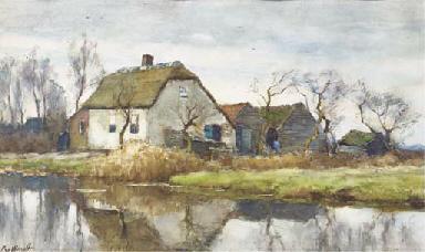 A farmhouse along a stream