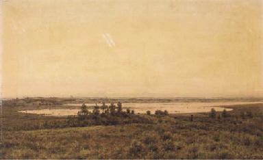 A panoramic view of a lake at