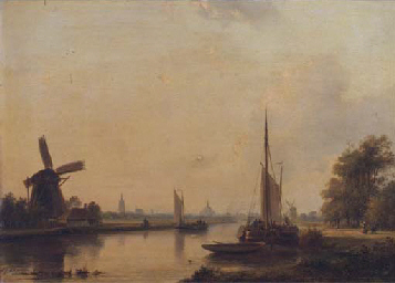 Moored vessels on the Vliet, T