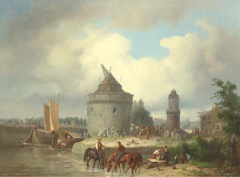 A Great Stone Mill on a River,