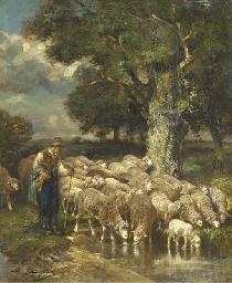 Un berger avec son troupeau