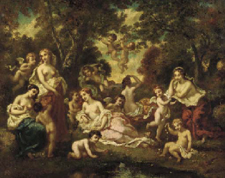 Nymphs and Putti in an Arcadia
