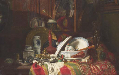 Still Life with Dishes, a Vase