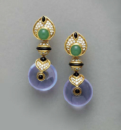 A PAIR OF GEM-SET, GLASS AND 1