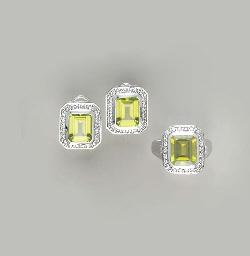 A SET OF PERIDOT, DIAMOND AND