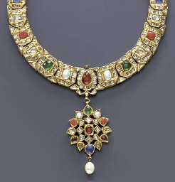**AN INDIAN GEM-SET AND GOLD N