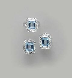 A SET OF BLUE TOPAZ, DIAMOND A