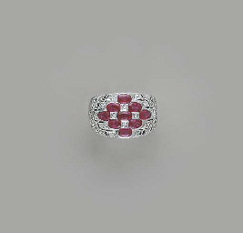 A RUBY, DIAMOND AND 18K WHITE