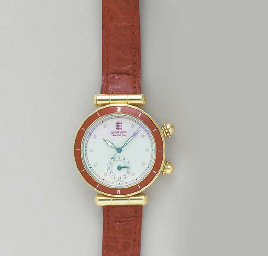 A 18K GOLD, RED ENAMEL AND STE