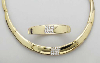 A SUITE OF 18K GOLD AND DIAMON