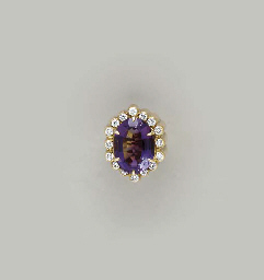 AN AMETHYST, DIAMOND AND GOLD
