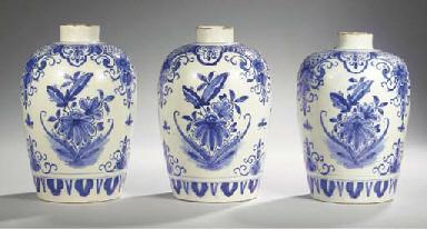 (3)  A set of three Dutch Delf