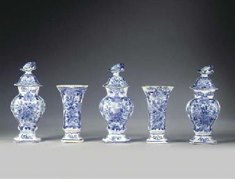 (8)  A Delftware blue and whit