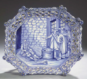 A Delftware blue and white oct