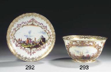 A Meissen porcelain gilt 'Kauf