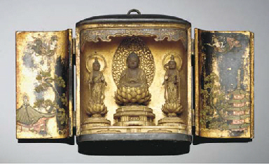 A Japanese lacquered and gilt