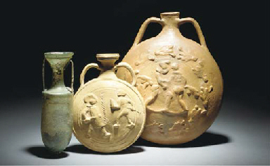 TWO ROMAN POTTERY PILGRIM FLAS