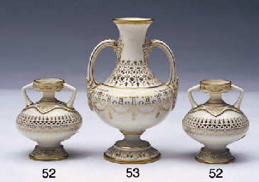A PAIR OF ROYAL WORCESTER RETI