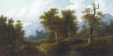 A figure in a wooded landscape