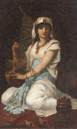 A young girl playing a harp