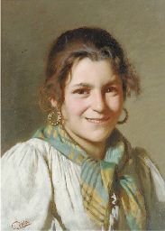 A young girl; and An eldery wo
