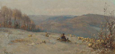 A shepherd and his flock on a