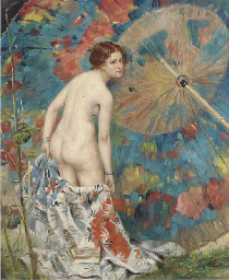 A female nude by a large orien