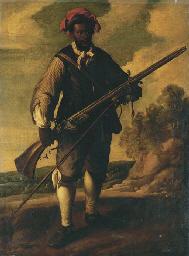 A Moorish soldier, holding a f