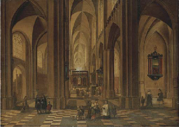 The interior of a cathedral wi