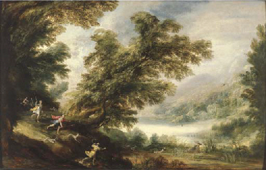 A wooded landscape with the Hu