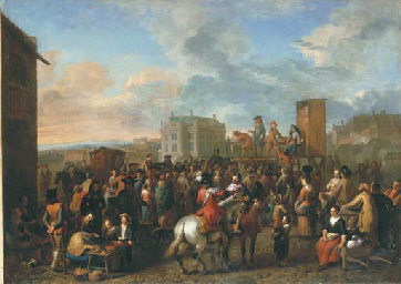 A market scene with a commedia