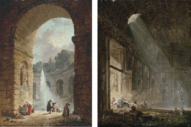 A ruined gallery with shepherd