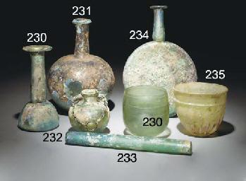 A ROMAN GREEN GLASS PILGRIM FL