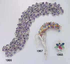 A MULIT-GEM AND DIAMOND FLOWER