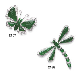 A JADEITE AND DIAMOND BUTTERFL