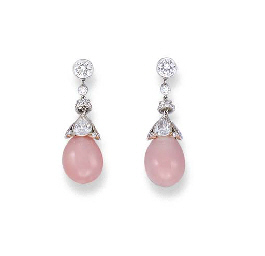 A PAIR OF CONCH PEARL AND DIAM