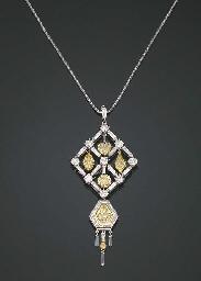 A FANCY COLOURED DIAMOND AND D