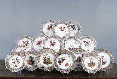 Seven German porcelain plates