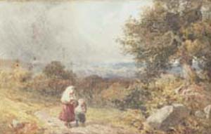 A mother and child returning h