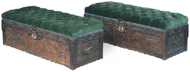 A PAIR OF CARVED OAK BOX SEATS