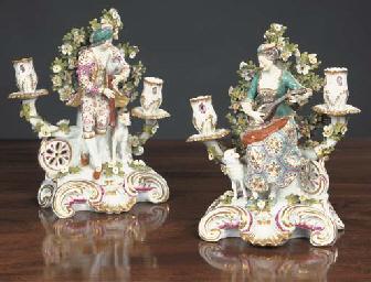 A pair of Samson candlestick f