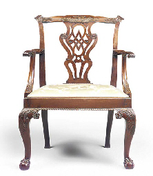 A GEORGE III MAHOGANY OPEN ARM