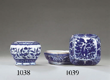 A LATE MING BLUE AND WHITE SQU