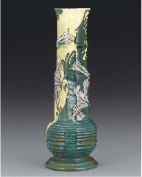 A POLYCHROME EARTHENWARE VASE