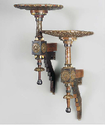 A PAIR OF INLAID WOOD WALL BRA